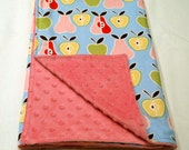 Baby Blanket - Alexander Henry Apples and Pears and Soft Pink Dot Minky