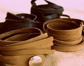 Leather Wrap Bracelet Brown 51cm