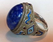 RESERVED FOR TAURUSGEMELLI-Enamel Snake Chinese Silver Lapis Filigree Adjustable Ring