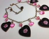 Pididdly Links Enamel Brass Hearts Necklace 1970s Jewelry