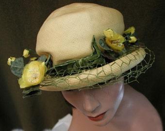 Green Velvet Trimmed Straw Hat