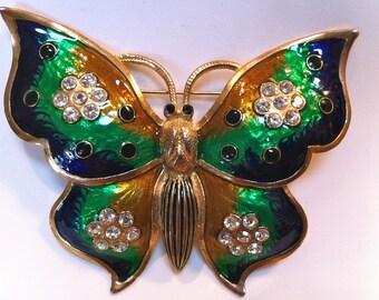 Big Enamel Rhinestone Butterfly Brooch