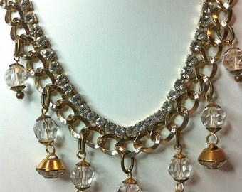 Altered Upscaled Vintage Rhinestone Necklace