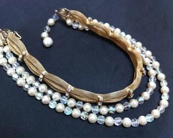 Mesh Rhinestone Crystal Choker 1950s vintage Jewelry