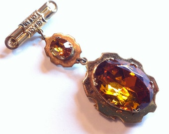 Lavalier Glass Brass Locket Pin Brooch