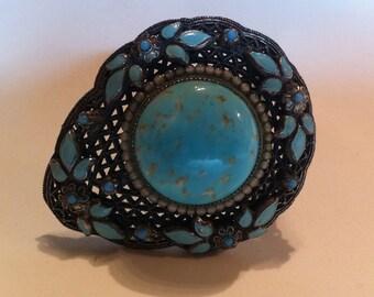 Enamel Art Deco Glass Fur Clip 1920s Jewelry