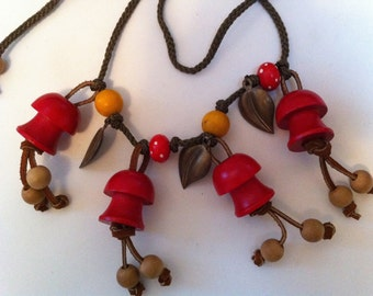 Red Mushrooms Mother Nature Necklace