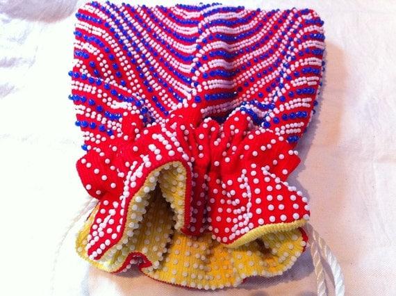 Bright Colors Reversible Corde Lumured Bead Purse