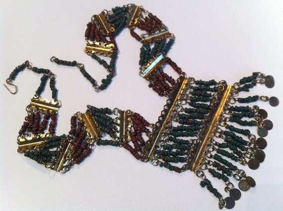 Vintage Egyptian Revival Faience Clay Necklace