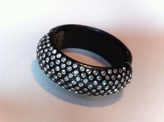 Vintage Black Rhinestone Clamper Bracelet - Unsigned Weiss Book Piece