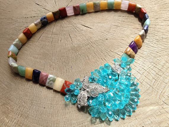 Natural Gemstone Repurposed Deco Buckle Necklace