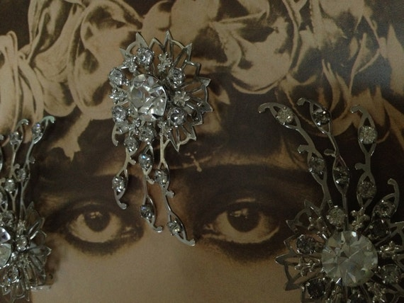 The Ice Queen Earrings and Pin 1950s Rhinestones