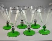 Set of 6 Vintage Wine glasses/dessert bowls, with green bases