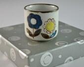 Set of 4 vintage sake cups, 1950's, flower pattern