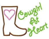 Cowgirl At Heart Boot Applique Design Machine Embroidery Design INSTANT DOWNLOAD