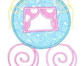 Princess Carriage Applique Machine Embroidery Design INSTANT DOWNLOAD
