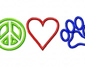 Peace Love Paws Applique Machine Embroidery Design INSTANT DOWNLOAD