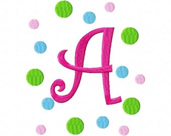 Curlz with Dots Frame  Machine Embroidery Font INSTANT DOWNLOAD