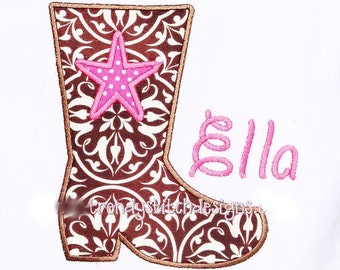 Cowboy boot Applique Design Machine Embroidery Design INSTANT DOWNLOAD