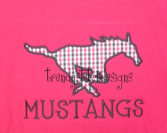 Mustang Applique Machine Embroidery Design INSTANT DOWNLOAD