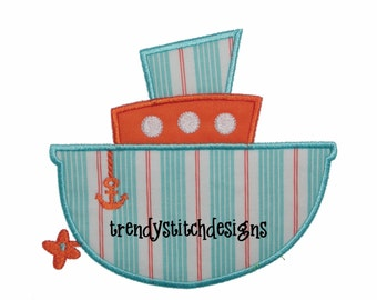 Tug Boat Applique Design Machine Embroidery INSTANT DOWNLOAD