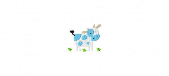 Cow In Pasture MINI Filled Stitch Machine Embroidery Design INSTANT DOWNLOAD