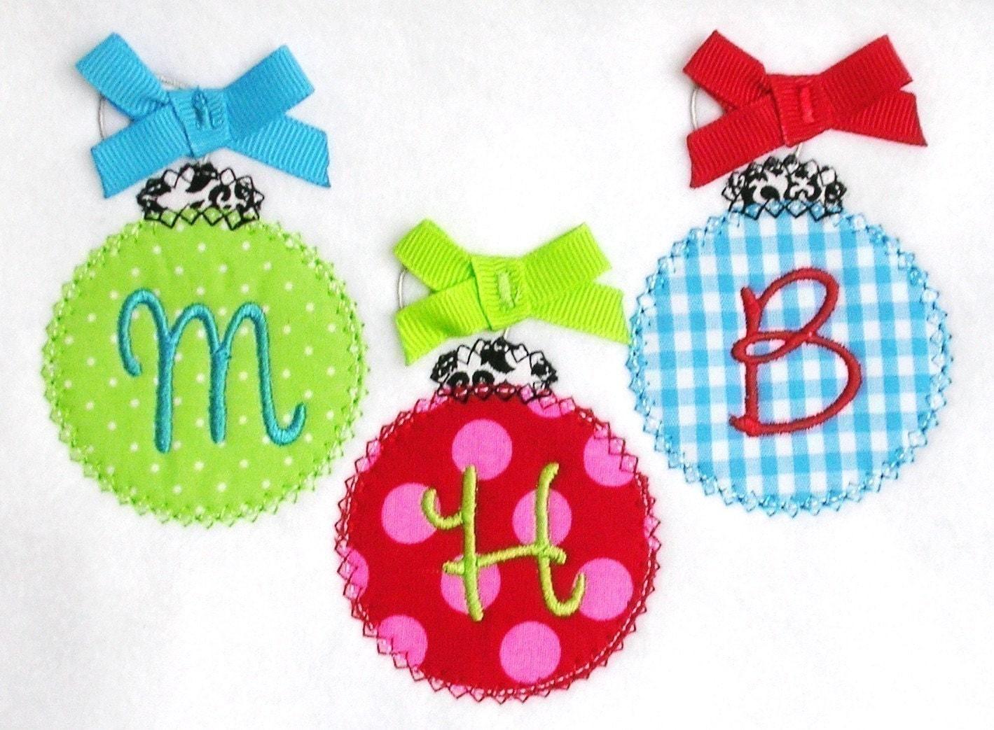 Christmas Ornament Trio Applique Design Machine Embroidery