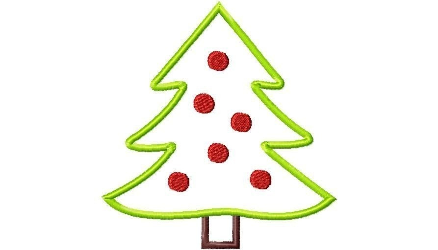 Christmas Tree With Dots Applique Design Machine Embroidery