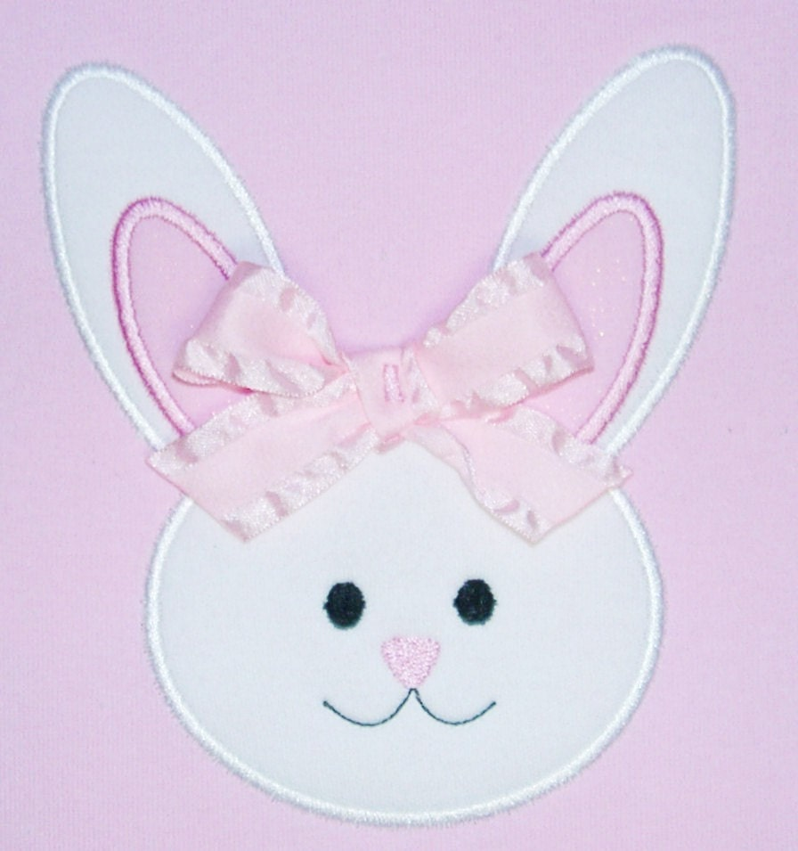 Bunny face applique machine embroidery by trendystitchdesigns