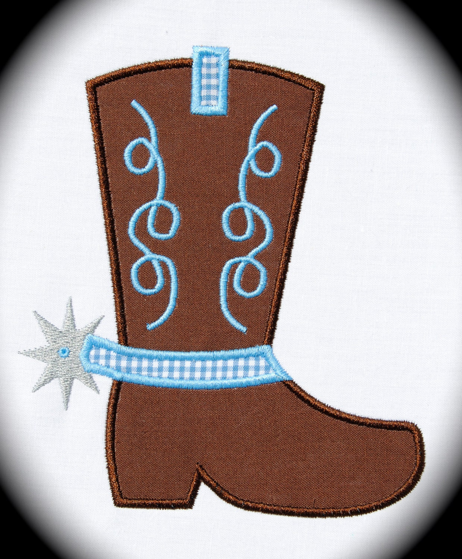 Cowboy Boot Spur Applique Machine Embroidery Design Instant