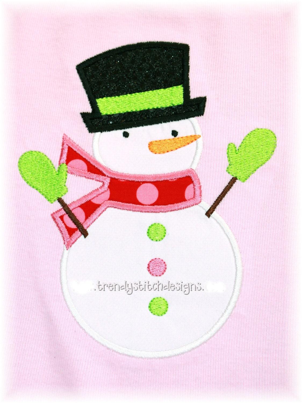 Snowman tophat applique machine embroidery design instant
