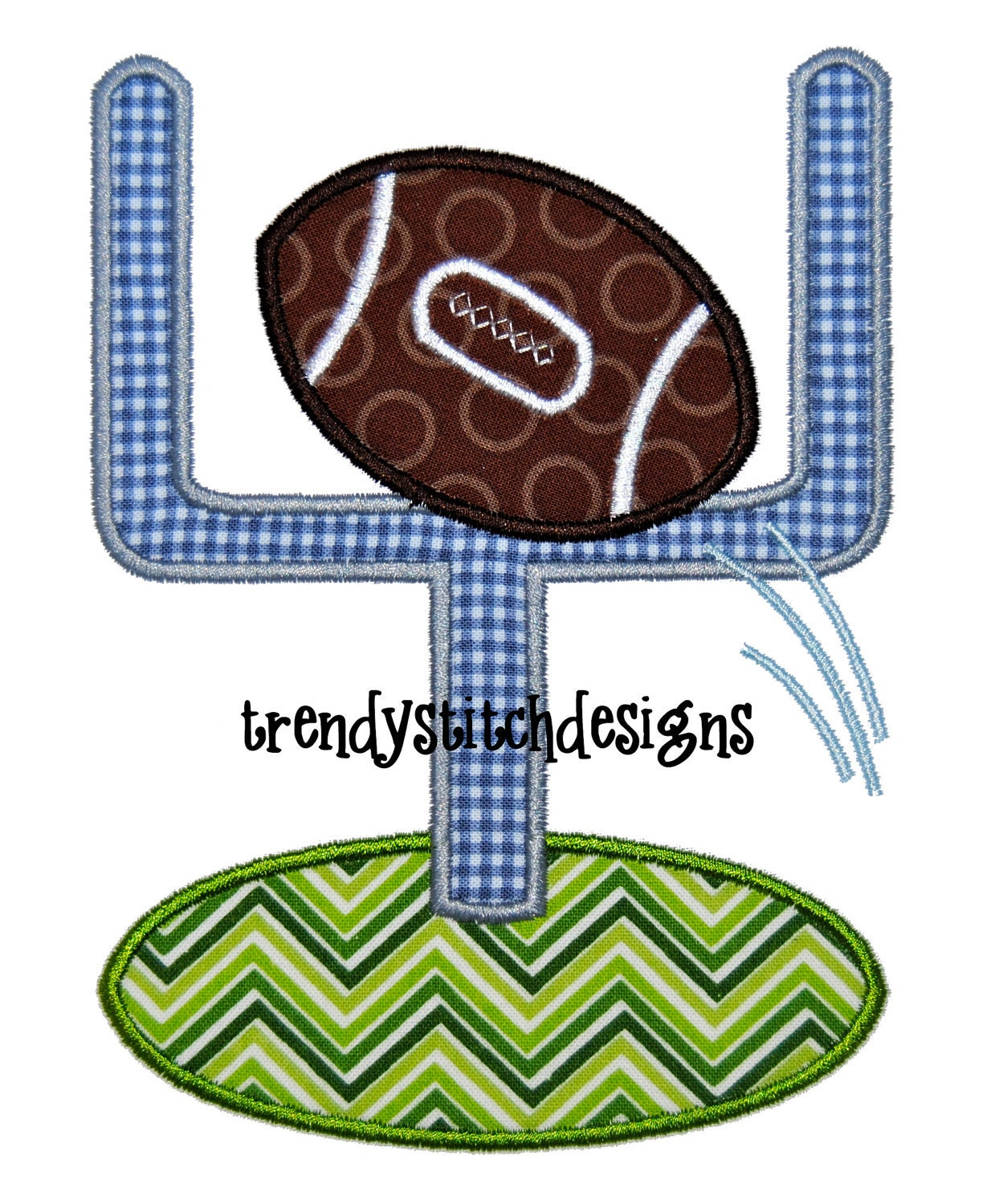 Football goal applique machine embroidery design instant