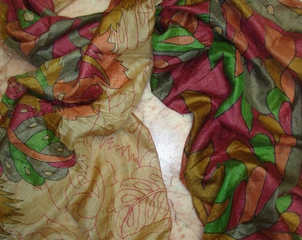 Beautiful Multicolor Floral Abstract Print Recycled Sari Pure Silk Scarf (22x72)