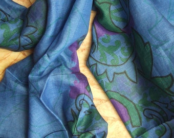 Beautiful Blue  Abstract Print Scarf,  Recycled Sari Pure Silk Scarf (22x80)