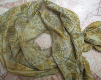 Beautiful Square Abstract, Floral Print-----Recycled Sari Pure Silk Scarf (40x40)