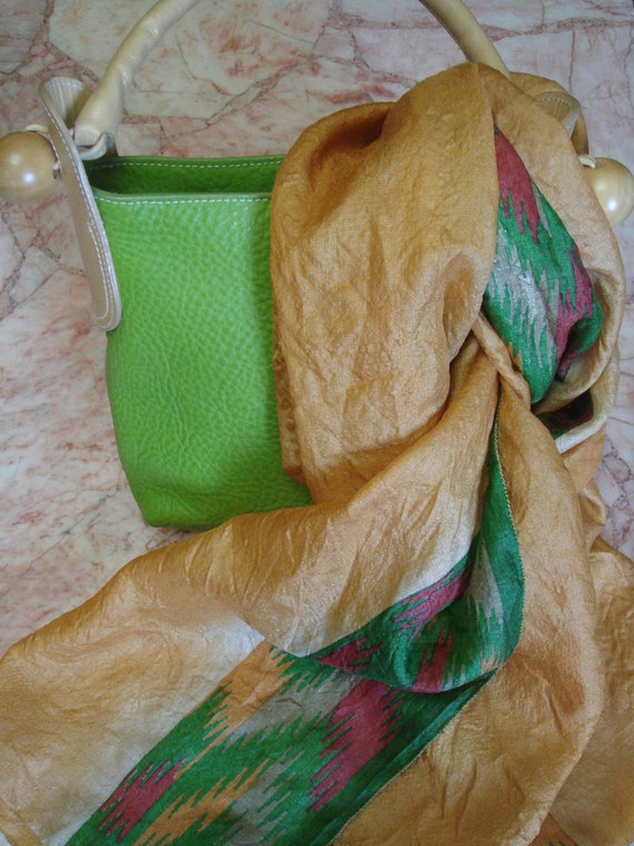 Recycled sari  silk scarf - yellow gold with amazing print (20x68)