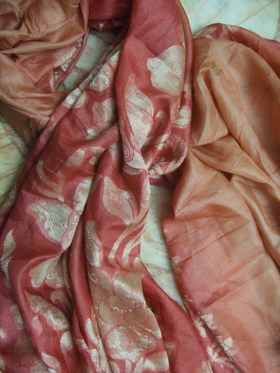 Beautiful Embroidery  Flower  Recycled Sari Pure Silk  Scarf (42x70)