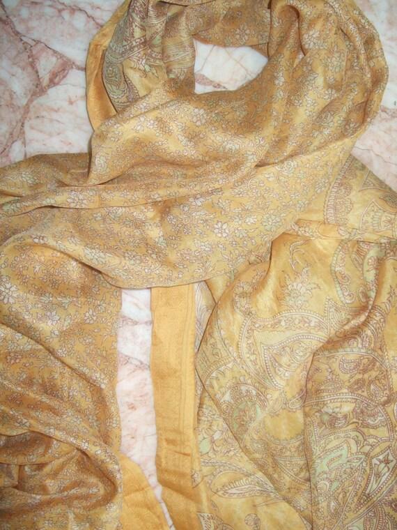 Beautiful  Floral Scarf,  Recycled Sari Pure Silk Scarf (44x70)