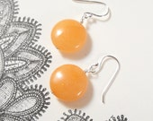 Tangerine Orange Chalcedony Earrings in Sterling Silver