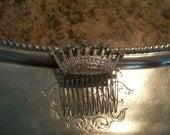 Beautiful Rhinetone Vintage Crown Comb
