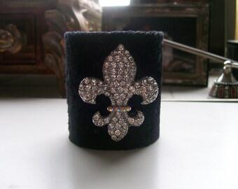 Black Velvet Cuff Bracelet Swarovski Fleur De Lis or Any Color of your choice!
