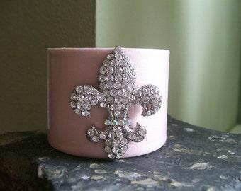 Pink Swarovski Fleur De Lis Cuff Bracelet