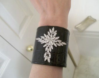 Black  Cuff Bracelet with Vintage Rhinestone Cross