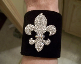 Black Velvet Cuff Bracelet Swarovski Fleur De Lis