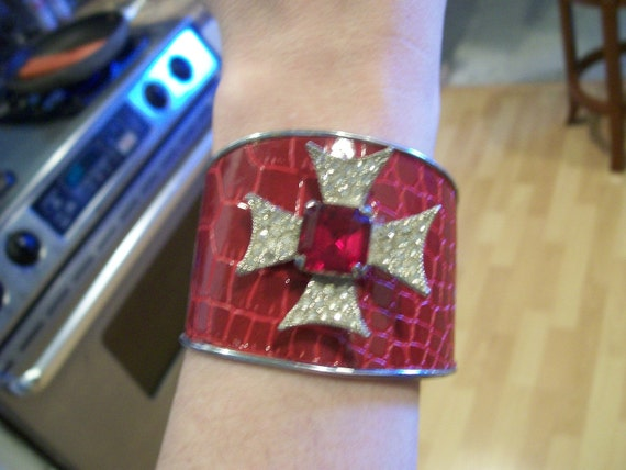 Gorgeous Red Bracelet with Red Stone and Rhinestones Cross