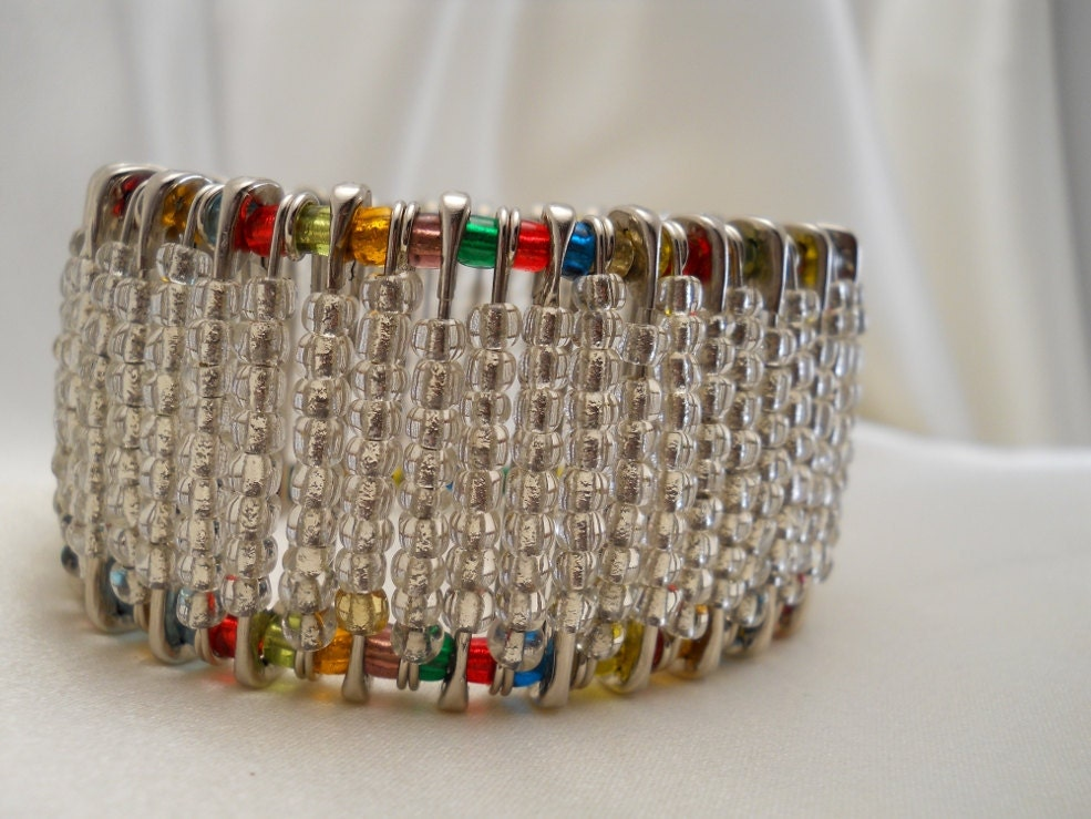 Safety pin beaded bangle crystalmulticolors for Safety pins for jewelry making