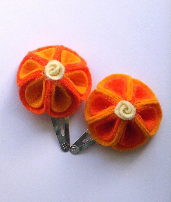 Summer Citrus - Handmade Set of Wool Felt Flower Snap Clips