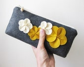 Clutch zipper purse wool felt charcoal gray with yellow and cream flowers