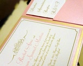 Pink Orchid Pocketfold Wedding Invitation with Flourish
