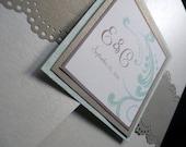 Champagne Flourish and Lace Pocketfold Wedding Invitation - The Emily